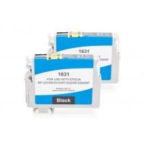 Alternativ zu Epson C13T16314010 / C13T16314012 / T1631 Tinte Doppelpack Black