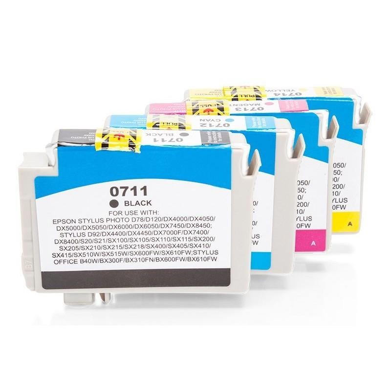 Alternativ zu Epson C13T07154010 / C13T07154012 / T0715 Tinten Spar Set (je 1 x BK,C,M,Y) 4 Stk.